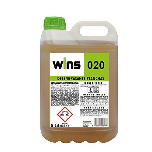 WINS 020 Desengrasante concentrado profesional para la limpieza de planchas de cocina y hornos. Botella 5 Lt