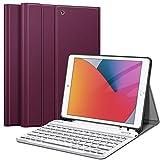 Fintie Tastatur Hülle für iPad 10.2 Zoll (9/8/ 7 Generation - 2021/2020/2019), Soft TPU Rückseite Gehäuse Schutzhülle mit Pencil Halter, magnetisch Abnehmbarer Tastatur mit QWERTZ Layout, Lila