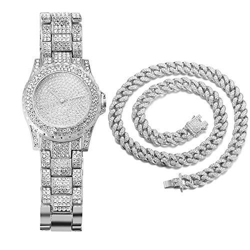 Halukakah Diamante Reloj de Oro Hombres,Platino Plateado en Oro Blanco Pulsera de Cuarzo 8.7'(22cm),con Collar Cubana 45cm,Cz Completo Diamante de Laboratorios,Gratis Caja de Regalo