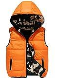 Mallimoda Boys' Lightweight Hooded Puffer Down Vest Jacket Waistcoat Double Side Wear Orange 7-8 Years