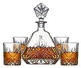 KEKEYANG Decantador Decantador de Whisky Decantador de vinos Decantador de Whisky y Gafas Conjunto, Borbón, Licor, 5 Piezas, 100% Cristal con Caja de Regalo, Sólido y Estable Decantador de Whisky