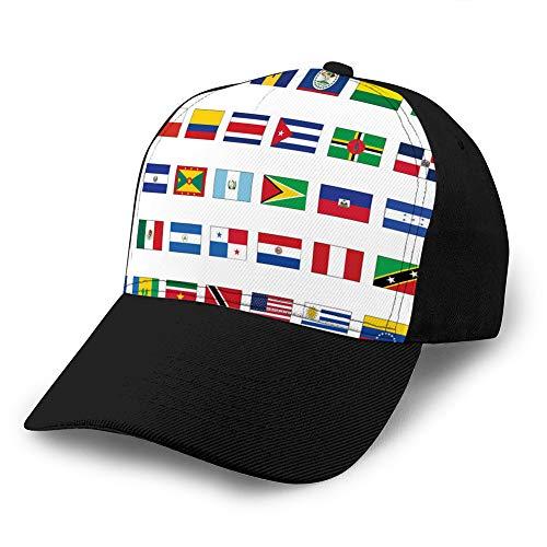 hyg03j4 7 Gorras de béisbol, Sombreros Militares, Sombreros de papá para el día del Padre, Conjunto de Banderas de Regalo de acción de Gracias de Todos los países de América Sombrero de Malla