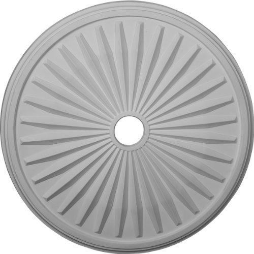 Ekena CM33LE - Medallón de techo, color blanco imprimado, 33 1/8 de diámetro x 3 1/2 de diámetro x 1 3/8 p