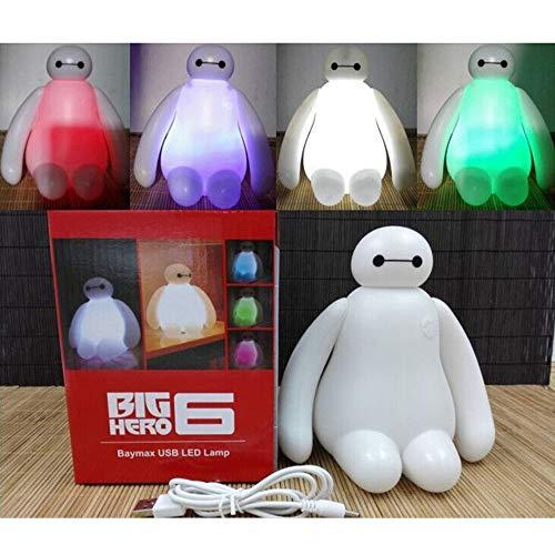Big Hero lindo dibujos animados Baymax luz USB carga noche luz dormitorio lámpara niños regalo noche lámpara LED sueño luz dormitorio luces