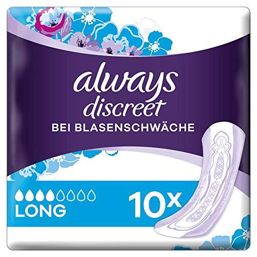 Always Discreet Inkontinenz-Einlagen Plus Long bei Blasenschwäche, 10 Stück