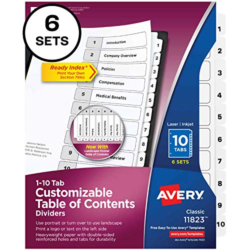 Avery 10 Tab Dividers for 3 Ring Binders, Customizable Table of Contents, Classic White Tabs, 6 Sets (11823)