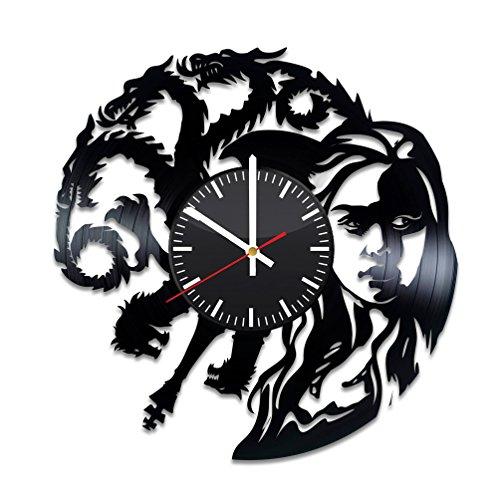 Reloj de vinilo con diseño de dragones de Juego de Tronos de Daenerys para decorar la pared o la habitación, hecho a mano, diseño de suministros de fiesta, regalo original para los fans del golf, decoración artesanal