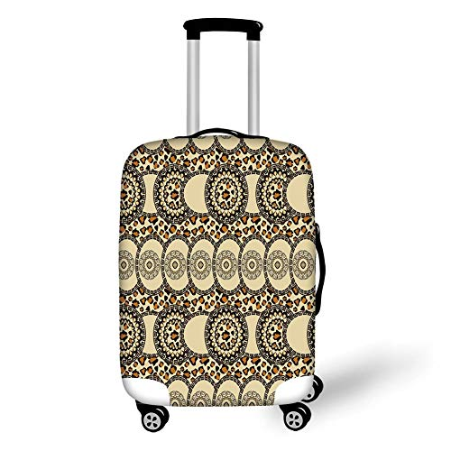 Travel Luggage Cover Suitcase Protector,Zambia,Folk African Safari with Nature and Animal Effects Jungle Boho Design,Dark Brown Cream Orange,for TravelXL 29.9x39.7Inch