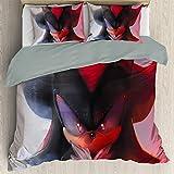Anime Bedding Juego de sábanas de 3 piezas California King de 3 piezas, funda de edredón de Sonic para niños, suave, cómoda, transpirable, se desvanecen (cama individual 172 x 218 cm)
