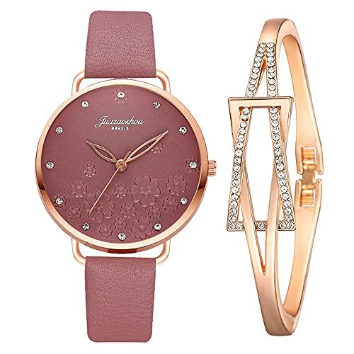 KLFJFD 2pcs Señoras Moda Temperamento Diamantes De Imitación Impresos Cinturón Delgado Reloj Impermeable con 1 Pulsera De Diamantes De Imitación Personalizada Chica Creativo Pulsera R