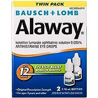 2-Pack Bausch+Lomb Alaway Antihistamine Eye Drops 0.34 Fl Oz