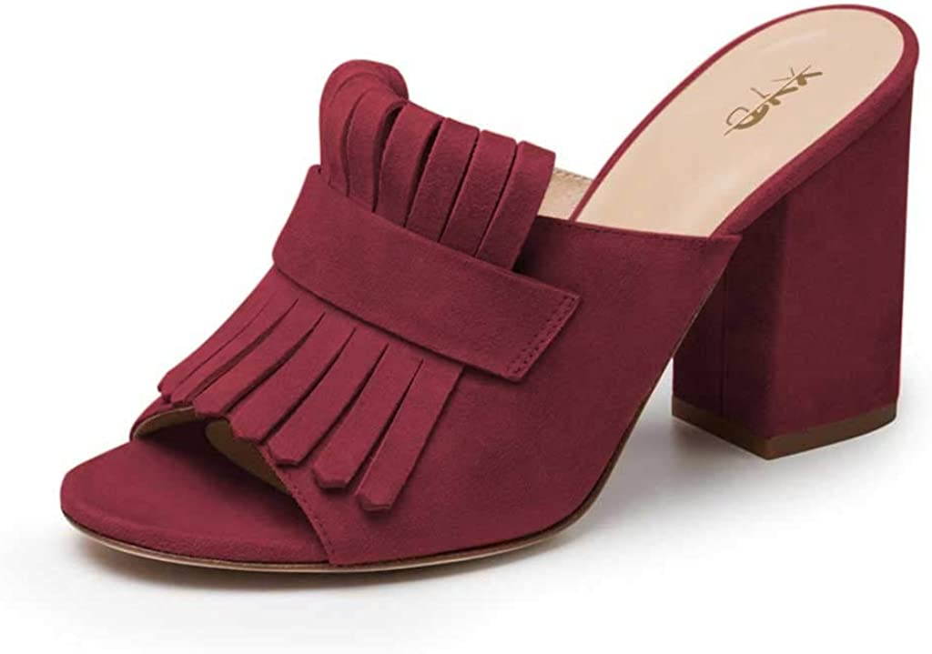 XYD Open Toe Heeled Mules with Fringe Slip On High Chunky Heels Summer Slides Sandals Holiday Casual Dress Shoes for Women