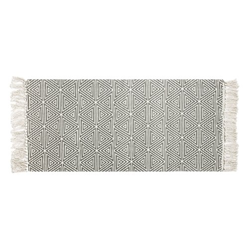 """SHACOS Cotton Rug Runner with Tassel 2'x4'4"""" Area Rug Runner Rug Tightly Woven Washable for Kitchen Bathroom Living Room Entryway (Grey Triangle)"""