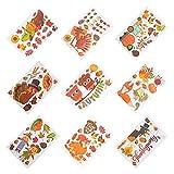 Amosfun 9 hojas de papel adhesivo para ventana del día de Acción de Gracias con diseño de pavo, otoño y otoño