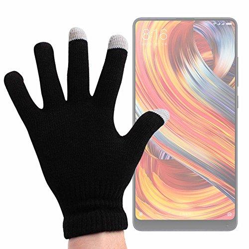 DURAGADGET Guantes Negros para Pantalla Táctil para Smartphone Doogee Mix 2 / Xiaomi Mi Mix 2S - Talla Grande - ¡Ideales para El Invierno!
