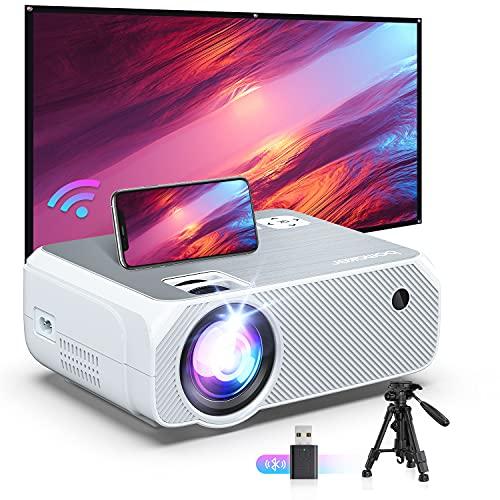 Bomaker Proiettore Wifi, Wifi Videoproiettore Portatile, Nativo 720p Full HD, Luminosità 6500, 300', Supporta Android/iOS/Fire Stick/PS4, Home Cinema