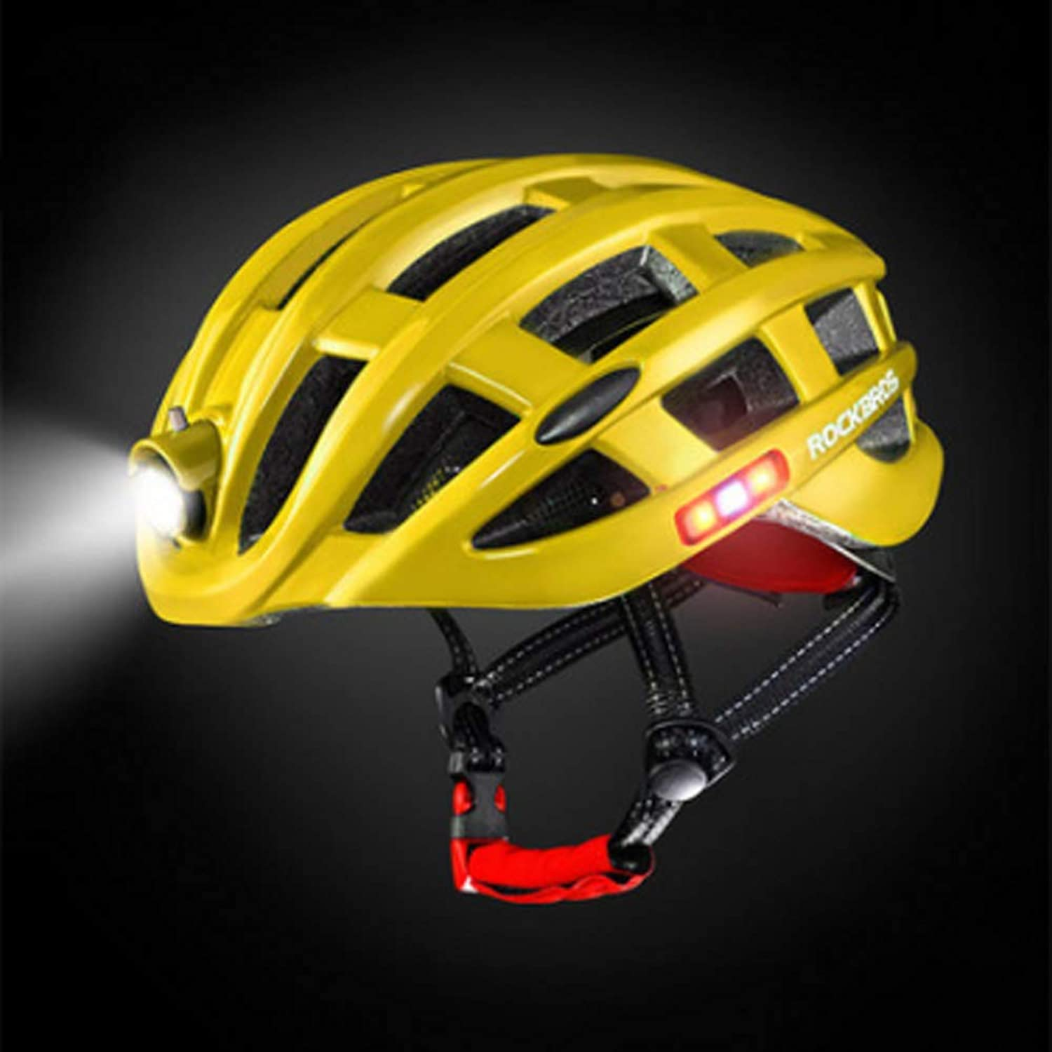 Riding Helmet with Lights Rechargeable Light Insect Nets Mountain Road Bicycle Helmet Equipment Men and Women,Yellow