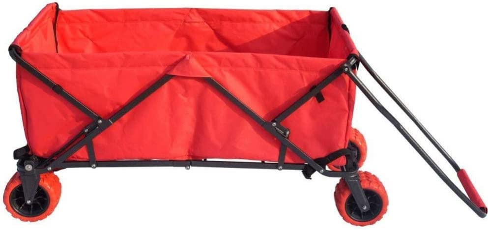 Impact Canopy Folding Collapsible Utility Wagon, Extra-Large Wagon with All-Terrain Wheels, Red