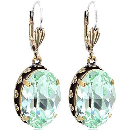 Jugendstil Ohrringe mit Kristallen von Swarovski® Gold Chrysolite Grün NOBEL SCHMUCK