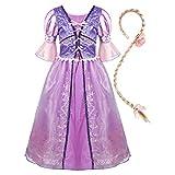 Alvivi Enfant Fille Longue Robe de Cosplay Princesse Raiponce Halloween Déguisements...