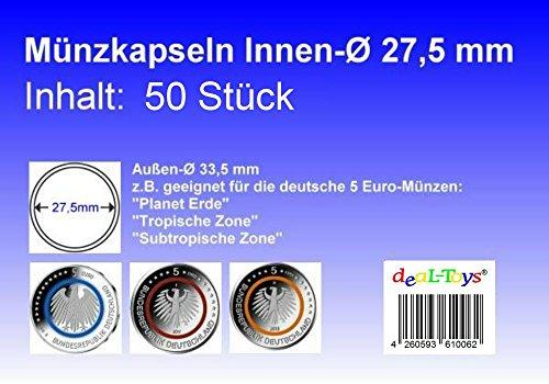 deaL-Toys® 50 Münzkapseln 27,5mm, geeignet für 5 Euro Münze Blauer Planet,Tropische Zone,Subtropische Zone