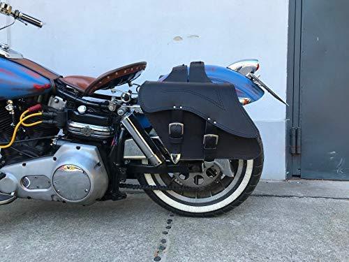 ORLETANOS Kronos Satteltaschen kompatibel mit Chopper Biker Motorrad Seitenkoffer Seitentaschen Taschen Saddle Bag Taschen Leder Biker Bikertaschen schwarz Fatboy Heritage Motorrad Set Komplettset 2