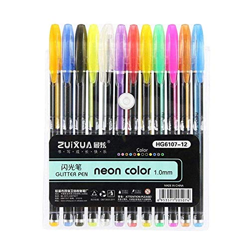 Mistazzo Neon Colour Gel Pens for Adult & Kid Colouring Book Glitter