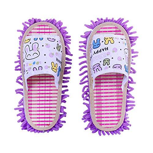 KCCCC Zapatillas de trapeador 2 Pares Unisex Casa Zapatillas Suelo Limpieza de Piso Piso Suelo Limpieza Herramienta Hombres Hombres Zapatillas de Limpieza de Piso (Color : Purple, Size : Medium)
