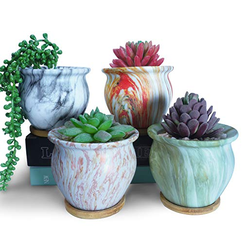 4.5 Inch Ceramic Succulent Planter Pots with Drainage Hole and Bamboo Trays, Small Round Cactus Plant Pots Set of 4, Marbling Flower Bonsai Containers Perfect for Garden, Home, Office, Windowsill