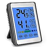 MOSUO Termómetro Higrometro Digital Interior, Termohigrómetro para Casa Ambiente Medidor de Temperatura y Humedad con Retroiluminación, Registrando Máximo/Mínimo y Pantalla Táctil