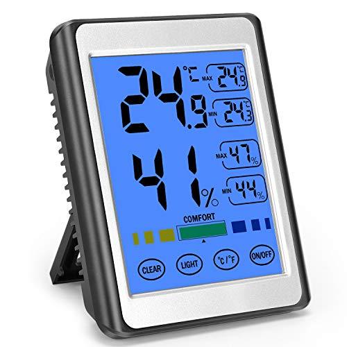 MOSUO Termometro Igrometro Digitale Ambiente Interno, Termometro Casa Misuratore umidità e Temperatura dell'ambiente con Retroilluminazione, Termoigrometro per Casa e Ufficio Grande Schermo di Tocco