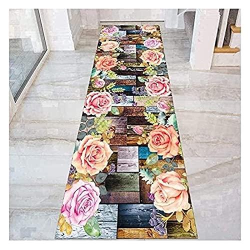 Langer Flur-Halle Läufer schmale Teppiche 3D Bunte Blumen-Runner-Teppich für Flur, rutschfeste Einstieg Teppich für Korridor-Eingangshalle-Treppe (Farbe : Multi Colored, Size : 140x400cm)