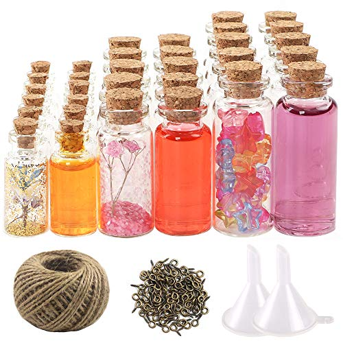 CUCUMI Mini Glass Bottles with Cork Stoppers 44pcs Mini Jars Wish Bottles( 20pcs 5ml and 12pcs 10ml and 12pcs 20ml), 50pcs Eye Screws, 30 Meters Twine and 2pcs Funnel
