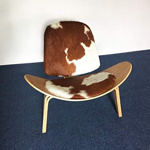 Haus Dekoration U-Best Wegner Shell Stuhl Sperrholz Mitte des Jahrhunderts Schalenstuhl Pony Leder Sessel (Color : Brown and White)