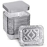 XIAFEI 1LB Takeout Foil Pans with Lids(50 Pack), Recyclable Food Storage,Disposable Aluminum Foil for Catering Party Meal Prep Freezer Drip Pans BBQ Potluck Holidays- 5.5' x 4.5'x 1.57'