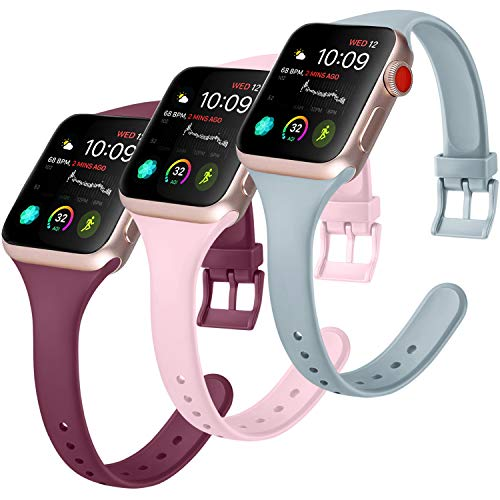 Amzpas 3 Cinturini per Apple Watch 38mm 40mm 44mm 42mm, Cinturino Sportivo in Silicone Stretto per iWatch Series 6, Series 5,Series 4,Series 3,Series 2,Series 1 (38/40mm S, Vino rosso/Rosa/Grigio)
