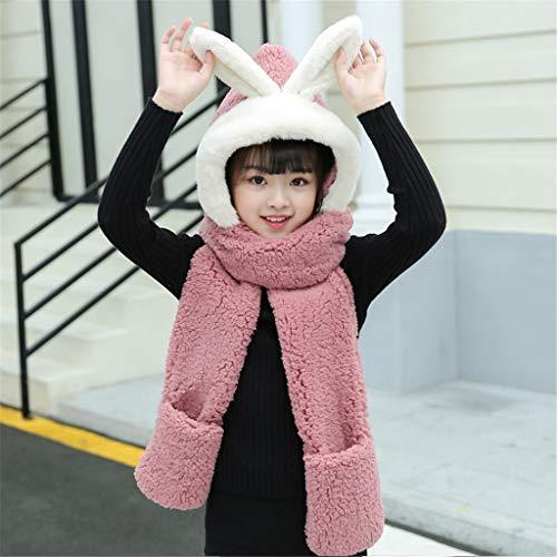 JFTMY Invierno Nuevo Sombrero Coreano Guantes de Tres Piezas Espesa Babero cálido bebé Peluche Conejo Orejas niños Bufanda (Color : E)