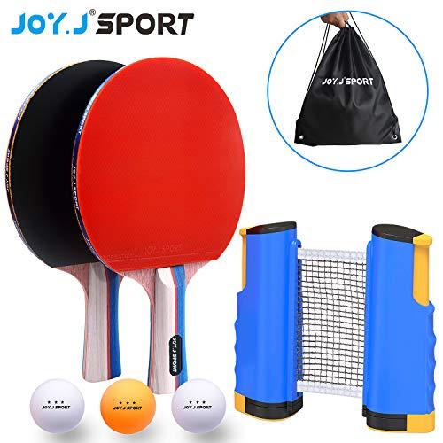 Joy.J Sport Tischtennis-Set, 2 Tischtennisschläger/Tischtennis schläger + Ausziehbare Tischtennisnetz + 3 Bälle, Ping Pong Schläger für 2 Spieler
