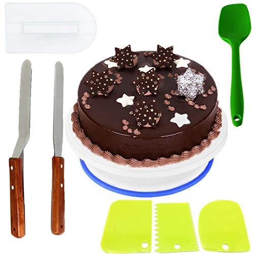 Nifogo Cake Turntable Conjunto, Incluir 1 Plato Giratorio para Tartas, 1 Espátula de Silicona, 3 Espátulas de Plástico para Decoración, 2 Espátula de Acero Inoxidable, 1 Cake Smoother (8PCS)