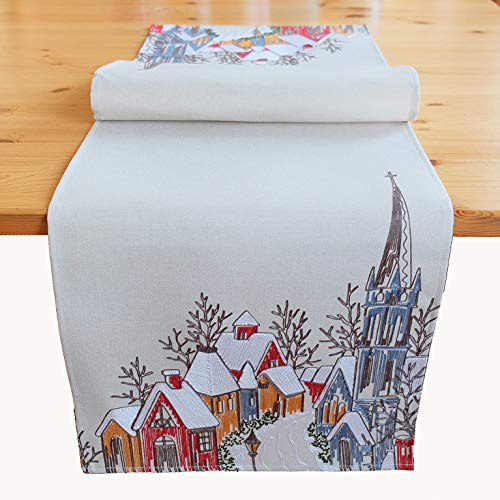 Kamaca - Runner da tavola con villaggio e chiesa, con ricami in filigrana e ricamo in filigrana, per autunno e inverno, 40 x 140 cm