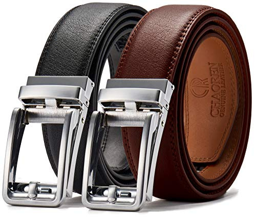 Leather Ratchet Dress Belt 2 Pack 1 3/8