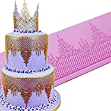 DUBENS Adorno de corona de iglesia para adornar, diseño de cenefa de encaje, molde grande de silicona mate, azucarero, ala, decoración, decoración de cocina, herramientas de artesanía