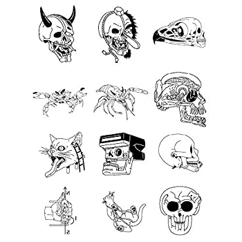 12 Original Design Temporary Tattoos by Inktells-Updated 2020-Animal Skull,Mantis tattoo for Men and Boys  fake tattoos for neck,back,hand and forearm   Removable 2 sheets