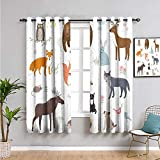 Cabin Decor Premium Blackout Curtains, Curtains 63 inch Length Cute Animals in Spring Meadow Childish Woodland Fauna Kids Baby Room Nursery Daily use Multicolor W63 x L63 Inch