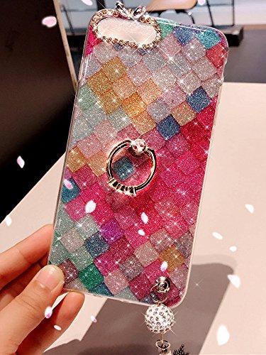 Carcasa de silicona suave con purpurina y diamantes de imitación para iPhone 8 y iPhone 7, carcasa protectora de TPU con borla y colgante de Ikasus