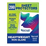 Samsill 200 Non-Glare Heavyweight Sheet Protectors, Reinforced 3 Hole...