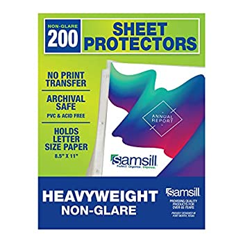 Samsill Sheet Protectors Acid Free & Archival Safe 8.5 x 11 Inches Top Load  Non-Glare Heavyweight 200 Pack