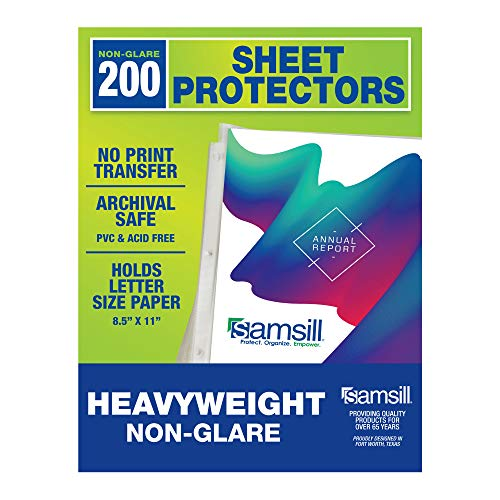 Samsill 200 Non-Glare Heavyweight Sheet Protectors, Reinforced 3 Hole Design Polypropylene Page Protectors, Archival Safe, Top Load for 8.5 x 11 Inch Sheets, Box of 200