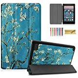Dteck Slim Case for All-New Amazon Fire 7 9th Gen 2019 Release, Kindle Fire 7 2017 2015 Case, PU Leather Lightweight Shell Trifold Stand Protective Cover with Auto Wake/Sleep Function, Plum Bloosm