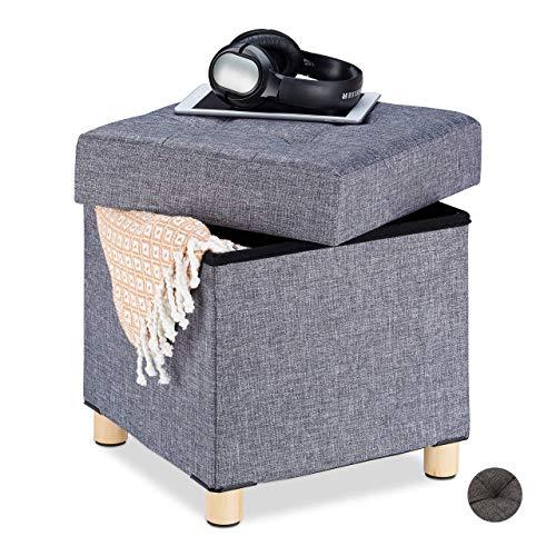 Relaxdays Sitzhocker mit Stauraum, weich gepolstert, gesteppt, Stoffbezug, Sitzwürfel, HxBxT: 39 x 38 x 38 cm, grau